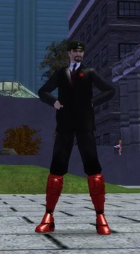 A screenshot of Robot Lenin outside the Steel Canyon University in Paragon City